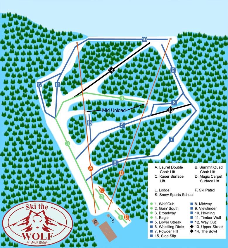 Wolf Ridge Trail Map - on locations of ski resorts map usa, map of utah ski resorts, map ski centers in usa, map ski resorts in france,